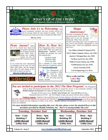 September issue of What's Up At the Creek? - Southcreek Office Park