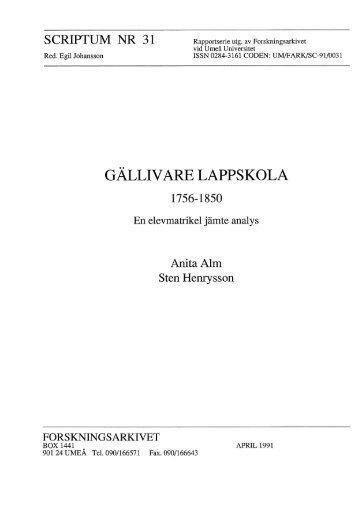 Gällivare lappskola 1756-1850. En elevmatrikel ... - Forskningsarkivet