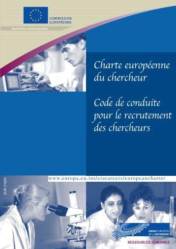 Charte européenne du chercheur Code de conduite pour le ...