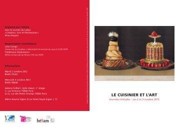 Le cuisinier plaquette def.pdf - Histoire culturelle et sociale de l'art
