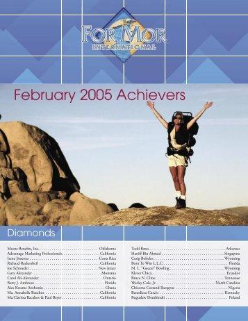 February 2005 Achievers - ForMor International