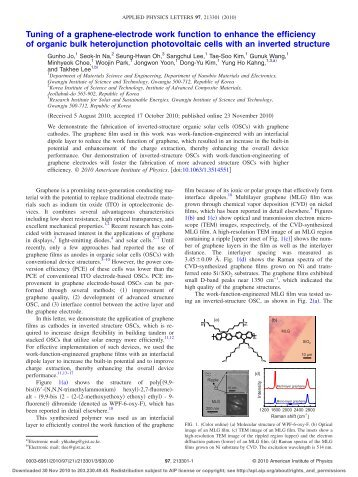 Tuning of a graphene-electrode work function to enhance the ...