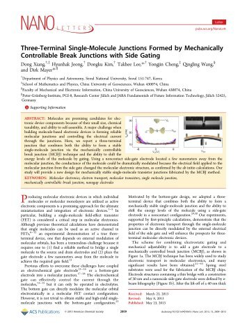 Three-Terminal Single-Molecule Junctions Formed by Mechanically ...