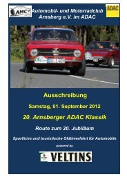Ausschreibung 20. Arnsberger ADAC Klassik