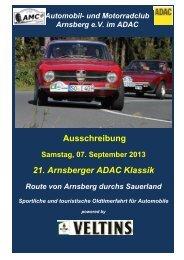 Ausschreibung 21. Arnsberger ADAC Klassik 2013
