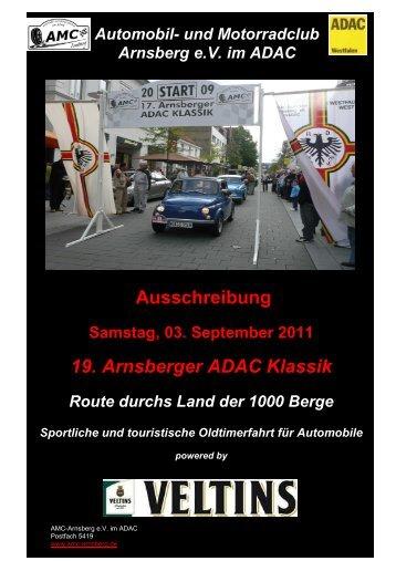 Ausschreibung 19. Arnsberger ADAC Klassik
