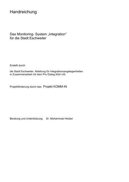Handreichung - Integration Eschweiler