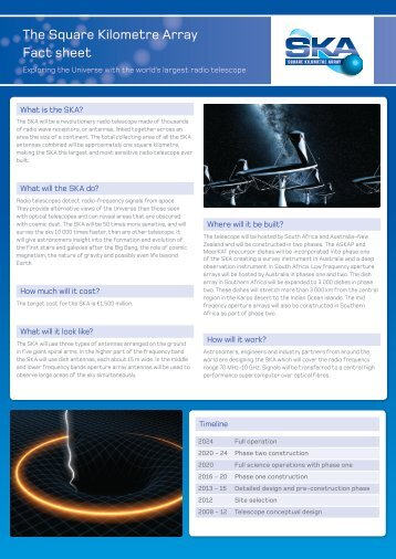 The Square Kilometre Array Fact sheet - SKA