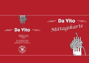 Mittagskarte Da Vito Restaurant & Pizzeria
