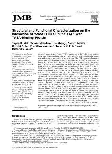 Structural and Functional Characterization on the Interaction of ...