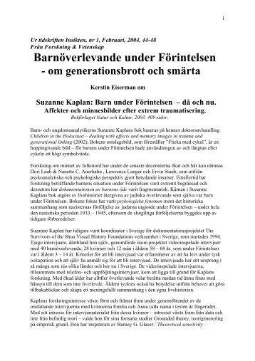 Barnöverlevande under Förintelsen - om generationsbrott och smärta.