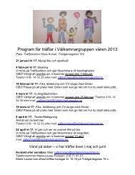 Program för träffar i Välkomnargruppen våren 2013