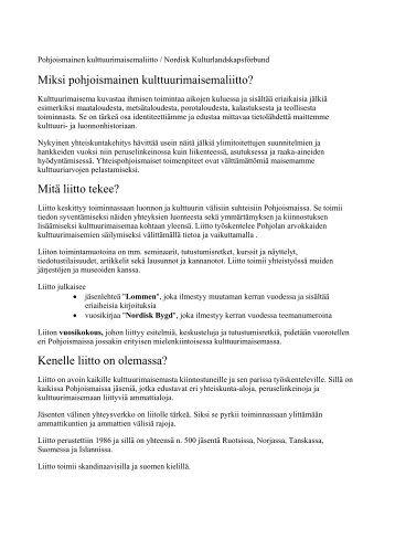 Pohjoismainen kulttuurimaisemaliitto/Nordisk Kulturlandskapsförbund