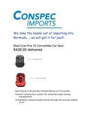 Maxi-Cosi Pria 70 Convertible Car Seat - Conspec Limited, Bermuda