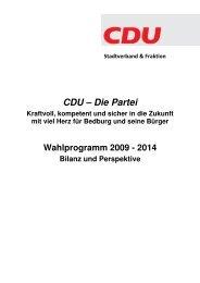 Wahlprogramm 2009 - CDU - Gunnar Koerdt