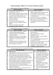 SWOT analysis for study year 2008/2009: