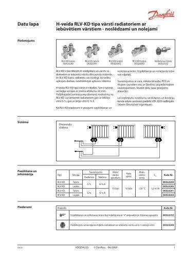H-veida RLV-KD tipa vārsti radiatoriem ar iebūvētiem vārstiem