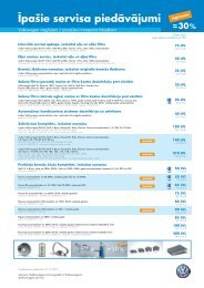 Īpašie servisa piedāvājumi - Volkswagen