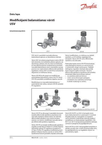 Modificējami balansēšanas vārsti USV - Danfoss apkures portāls