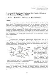 Numerical 3D Modelling of Turbulent Melt Flow in CZ System with ...