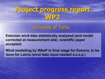 Project progress report WP2