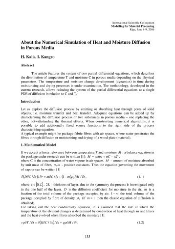 About the Numerical Simulation of Heat and Moisture Diffusion in ...