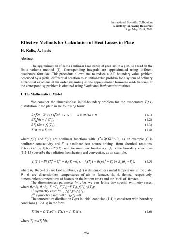 Effective Methods for Calculation of Heat Losses in Plate