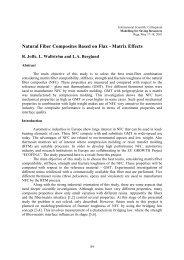Natural Fiber Composites Based on Flax - Matrix Effects