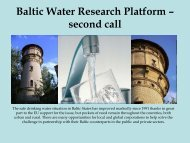 Baltic Water Research Platform – first call - wrl.bf.rtu.lv