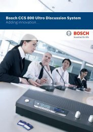 Bosch CCS 800 Ultro Discussion System Adding innovation...