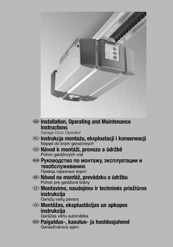 Installation, Operating and Maintenance Instructions Instrukcja ...