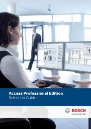Access Professional Edition Selection Guide - Bosch Security Systems