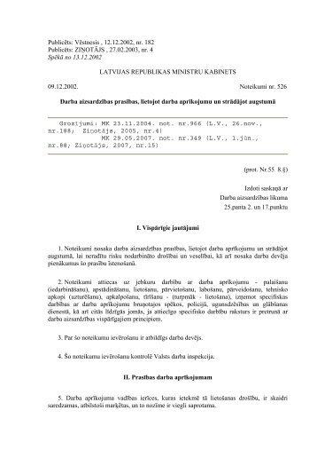 Publicēts: Vēstnesis , 12.12.2002, nr. 182 Publicēts: ZIŅOTĀJS ...