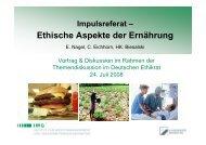 Impulsreferat – Ethische Aspekte der Ernährung - Deutscher Ethikrat