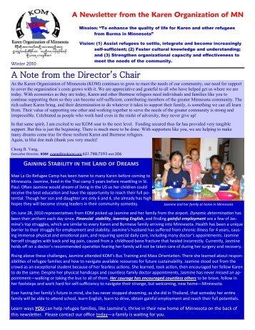 KOM Newsletter, Winter 2010 - Karen Organization of Minnesota