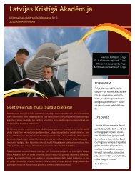 Informatīvais biļetens Nr.1 PDF formātā - Latvijas Kristīgā akadēmija