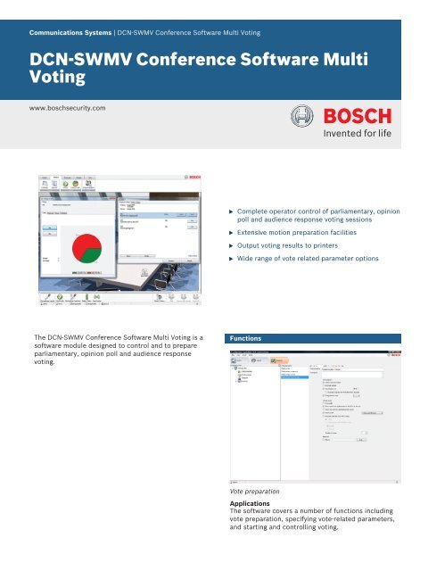 DCN-SWMV Conference Software Multi Voting - Bosch Security