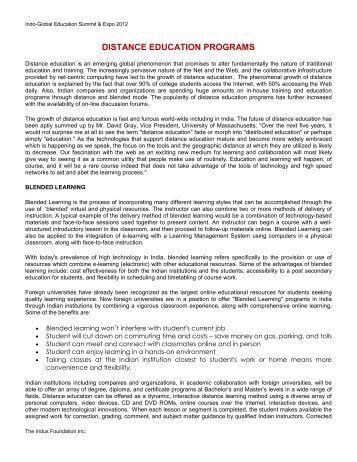 DISTANCE EDUCATION PROGRAMS - The Indus Foundation