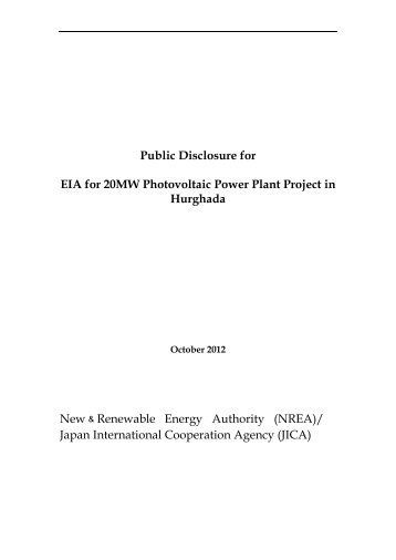 Public Disclosure for EIA for 20MW Photovoltaic Power Plant Project ...
