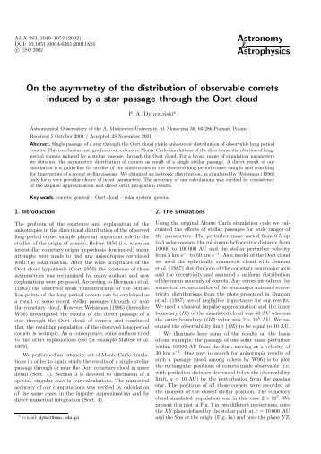 Astronomy & Astrophysics On the asymmetry of the distribution of ...
