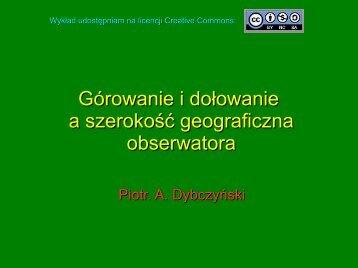 Górowanie i dołowanie a szerokość geograficzna obserwatora