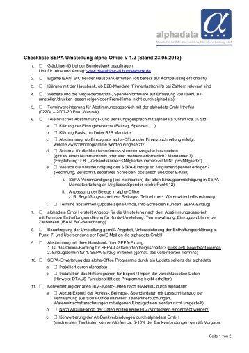Checkliste SEPA Umstellung alphaOffice.PDF ... - alphadata GmbH