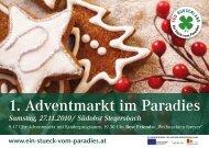 1. Adventmarkt im Paradies - Ein Stück vom Paradies