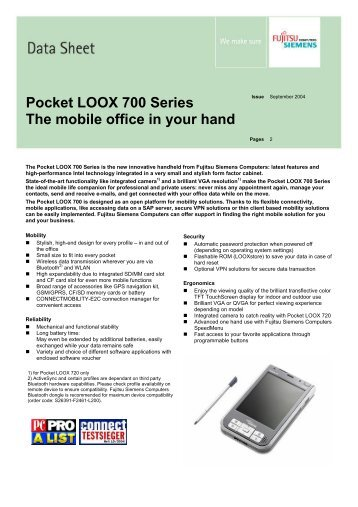 Pocket LOOX 700 Series The mobile office in your hand - PalmPC