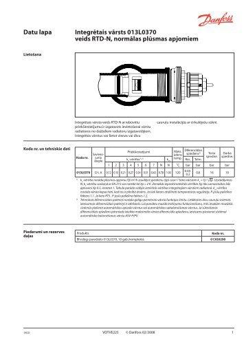 Datu lapa Integrētais vārsts 013L0370 veids RTD-N, normālas ...