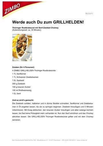 Thüringer Rostbratwurst mit Senf-Zwiebel-Chutney - ZIMBO ...