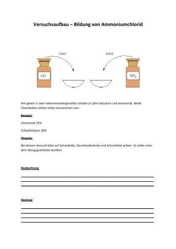 Versuchsaufbau Bildung von Ammoniumchlorid