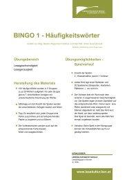 BINGO 1 - Häufigkeitswörter - Lesekultur macht Schule