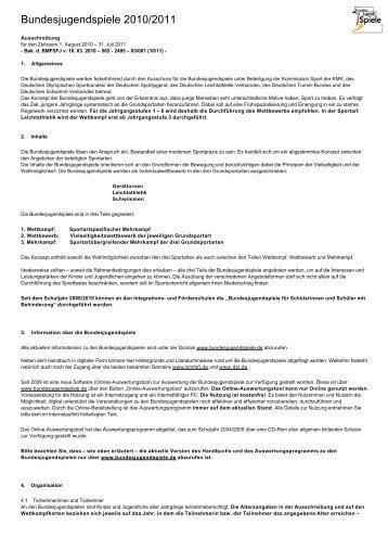 Bundesjugendspiele 2010/2011 - Kinderwelt-Bewegungswelt.de