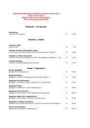 Antipasti / Vorspeisen Insalate / Salate Paste / Teigwaren